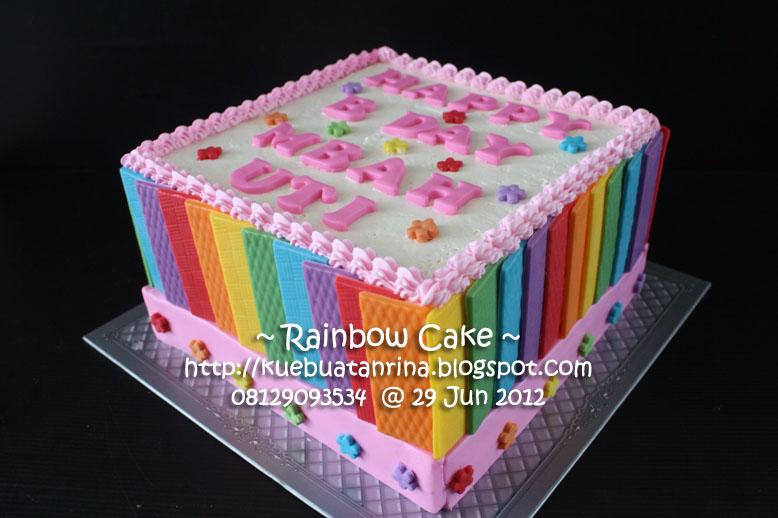 Rainbow Cake with Edible, Pesanan Yulia...