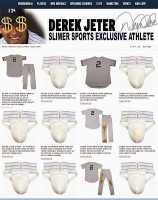 funny Derek Jeter selling game worn jock straps