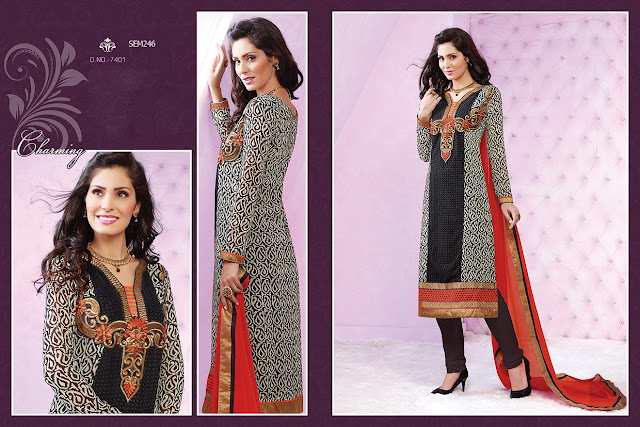 New Fashionable Printed Cotton Embroidered Salwar Kameez