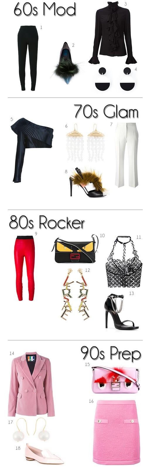 60s mod Halloween costume, 70s glam  Halloween costume, 80s rocker  Halloween costume, 90s prep  Halloween costume