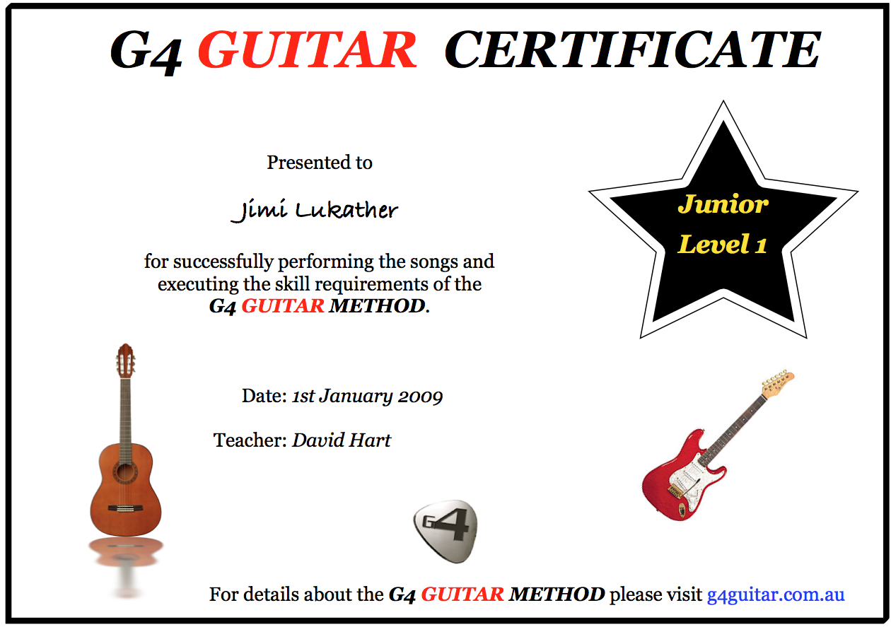 Student Certificates G4 Guitar Method Student Site