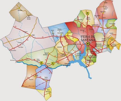 Mapa da região de Feira de Santana