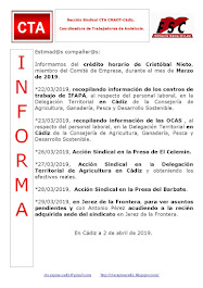 C.T.A. INFORMA CRÉDITO HORARIO CRISTOBAL NIETO, MARZO 2019