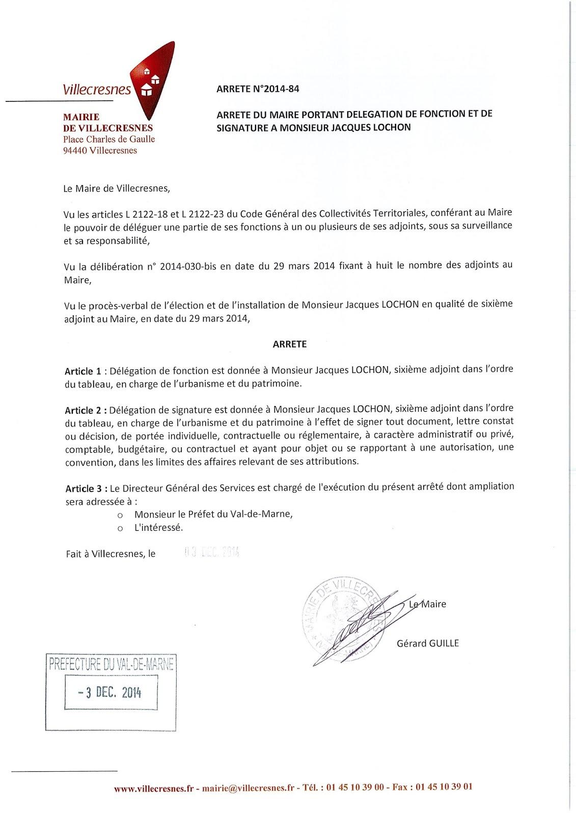 2014-084 Délégation de fonction et de signature à Monsieur Jacques Lochon