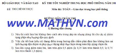 Đáp án môn TOÁN thi tốt nghiệp 2011, Dap an de thi mon Toan tot nghiep THPT 2011