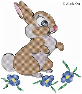 Free cross-stitch patterns, Thumper's Girlfriend, Miss Bunny, Thumper, rabbit, bunny, animal, Disney, Bambi, cartoon, cross-stitch, back stitch, cross-stitch scheme, free pattern, x-stitchmagic.blogspot.it, вышивка крестиком, бесплатная схема, punto croce, schemi punto croce gratis, DMC, blocks, symbols