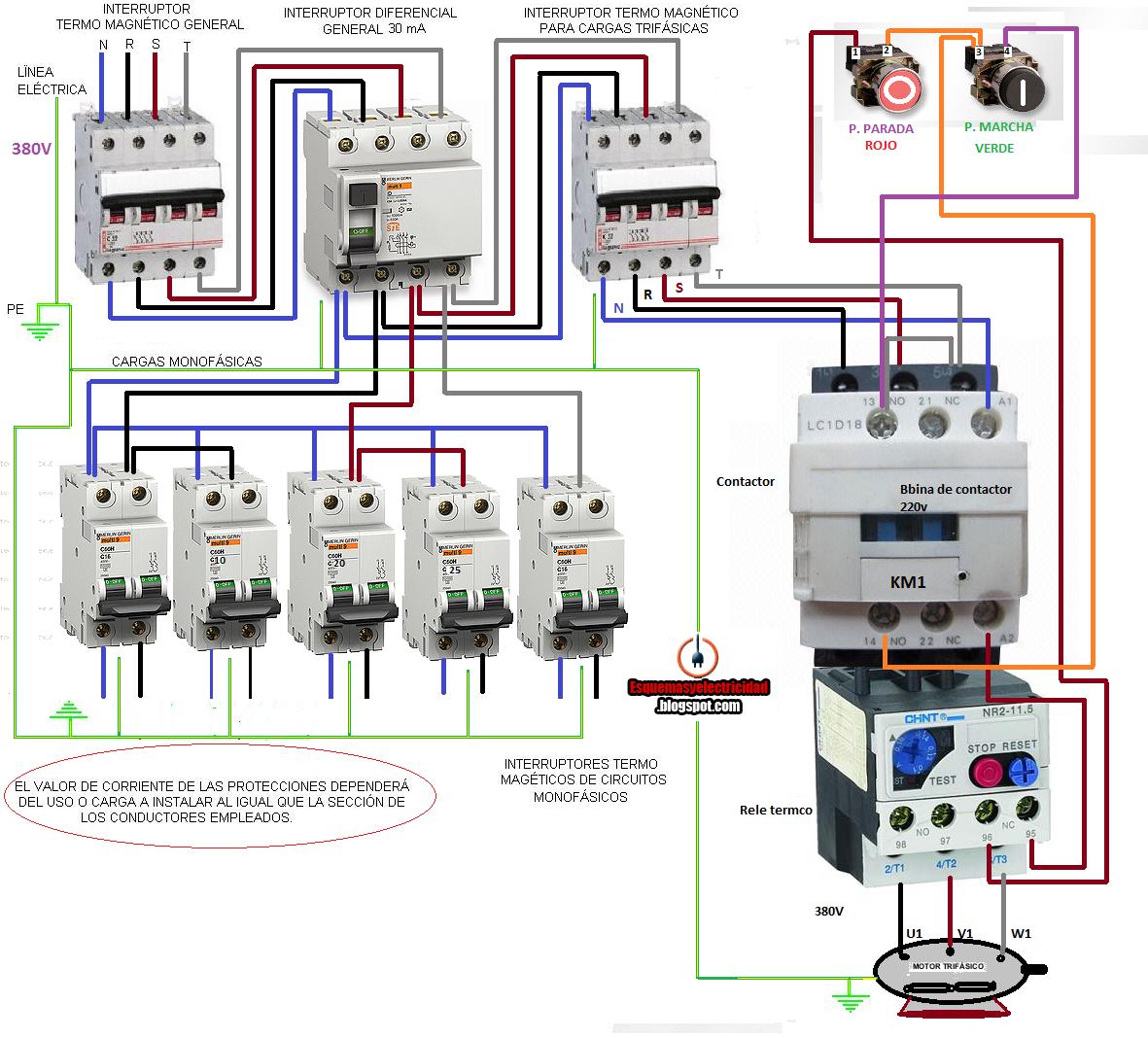 Cuadro electrico trifasico con maniobra marcha paro for Instalacion de piscinas pdf