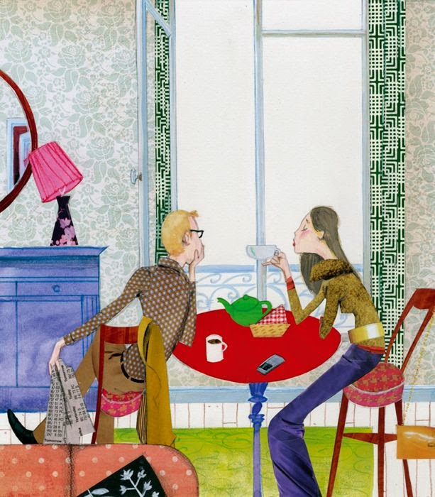 illustration by Robert Wagt of a couple having breakfast in Paris