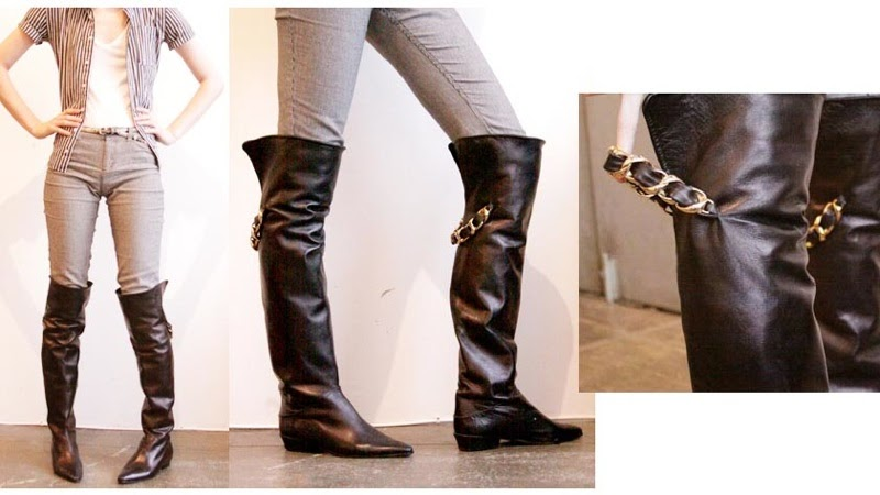 Ebay Leather  Vintage Chanel Otk Boots Sell For  713 00