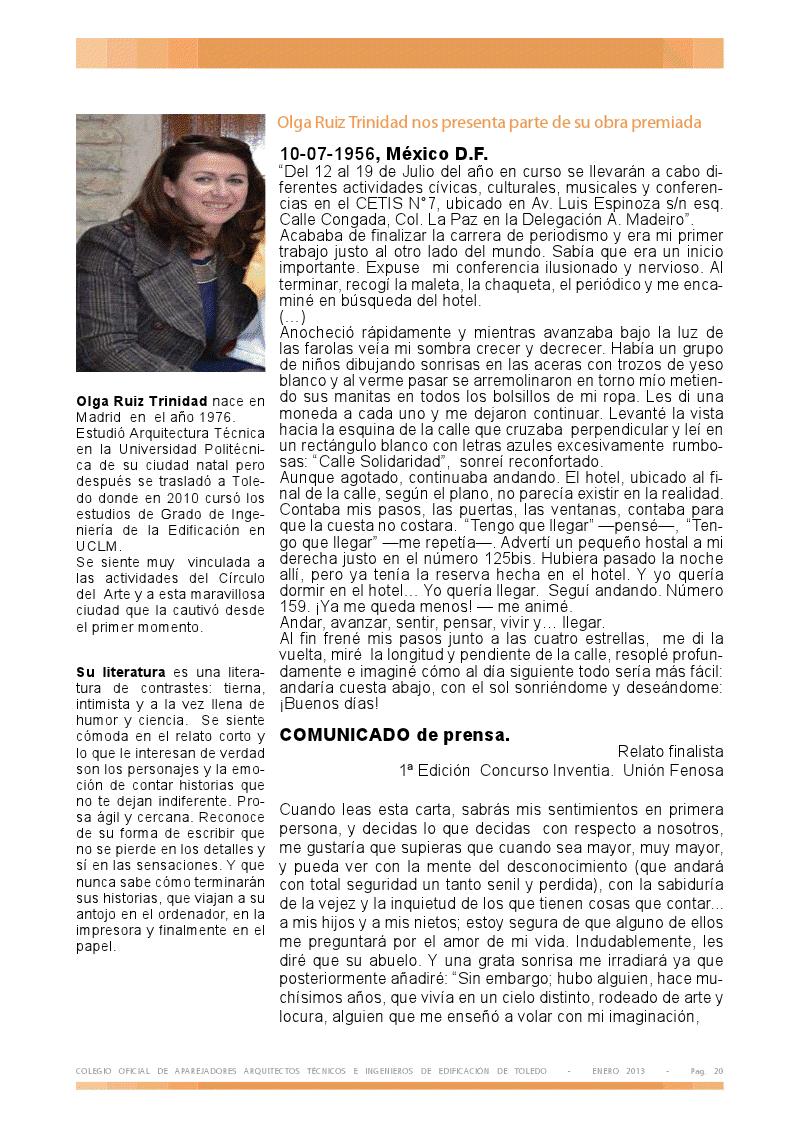 REPORTAJE EN EL BOLETÍN ALMOJAYA . ENERO 2013