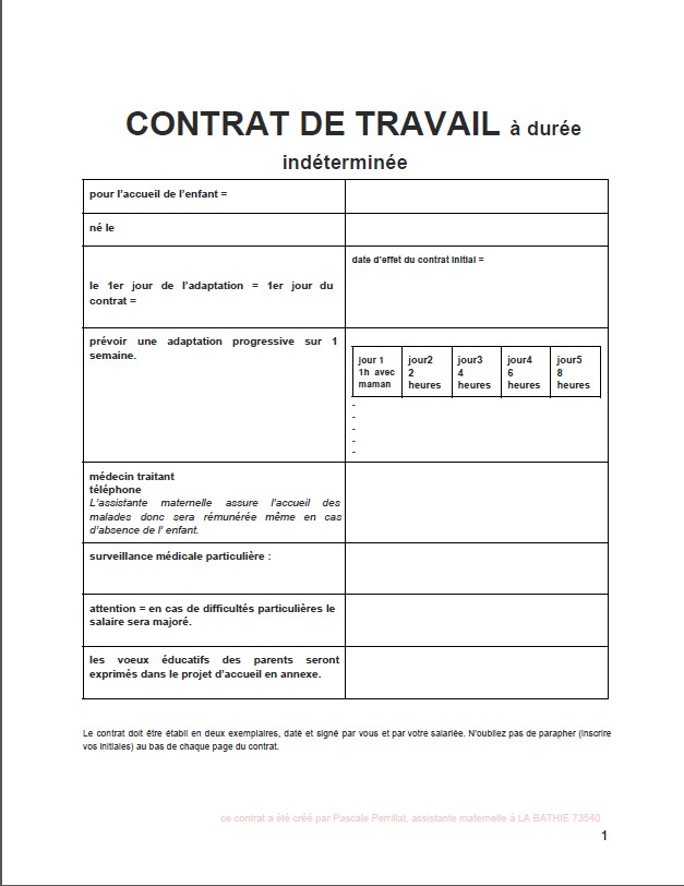 Préférence nounou Pascale: mon CONTRAT DE TRAVAIL d'assistante maternelle  PO42
