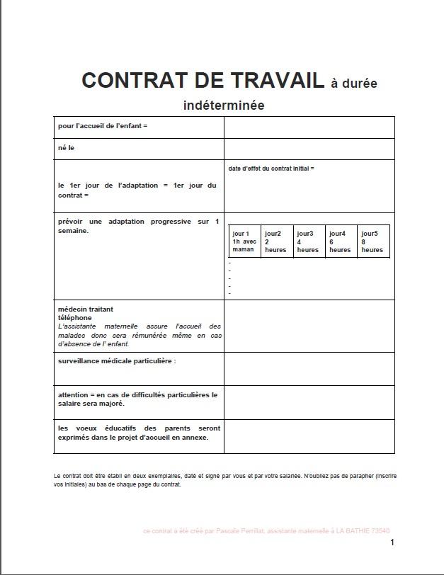 exemple de contrat occasionnel nounou