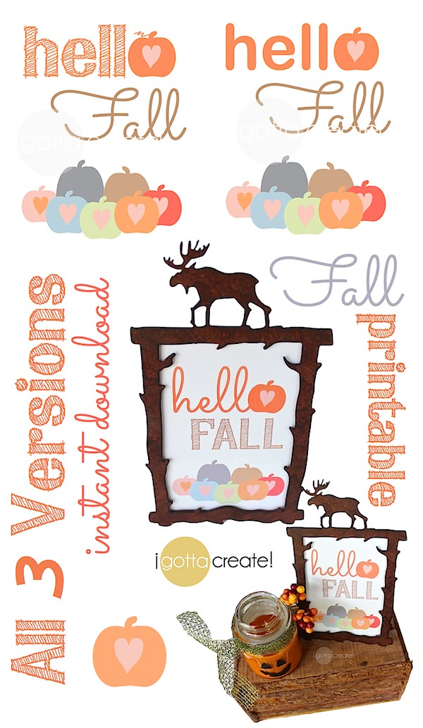 Sweet little pumpkin patch welcomes Fall! Free printable in 3 versions available at I Gotta Create!