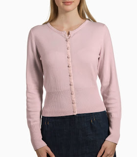 Wool cashmere pale pink Woolovers cardigan