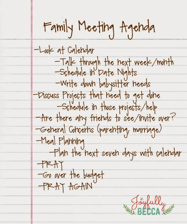 Joyfully Becca Family Meeting Agenda