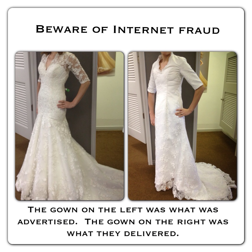 The gown that came in looked nothing like the designer gown she fell