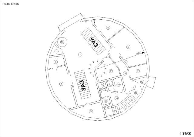 План первого этажа сейсмической станции.