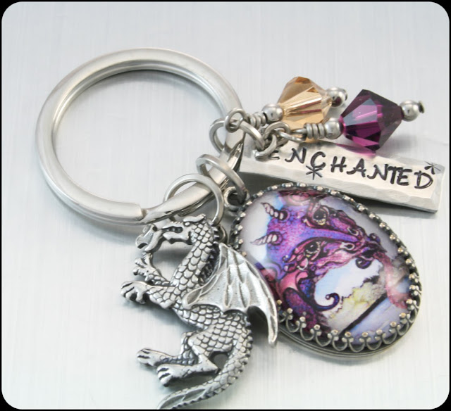 dragon key chain, crystal key chain