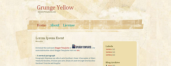 Blogger Templates Grunge Yellow
