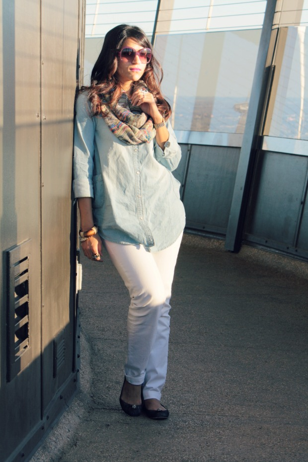 Chambray Shirt, GAP Jeans, Urban Outfitters Scarf