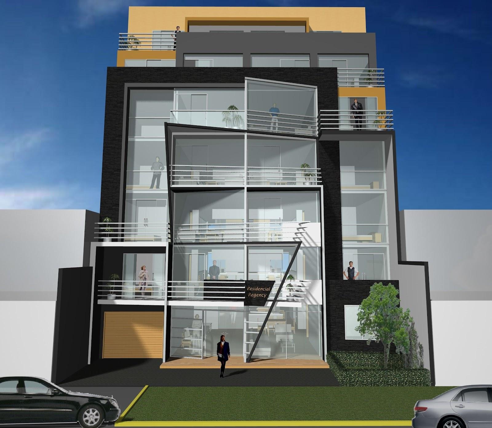 Santiago des1gns dise o de edificios multi familiares for Fachadas contemporaneas de edificios