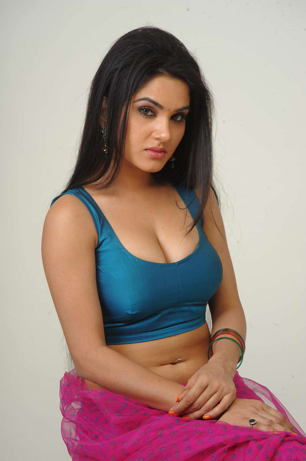 Kavya Singh in Blue Saree in Pink Saree Kavya Singh