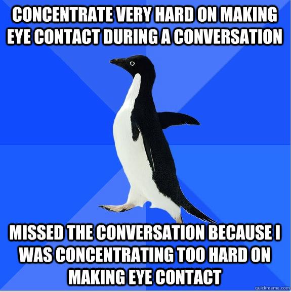 Web of funny socially awkward penguin makes eye contact