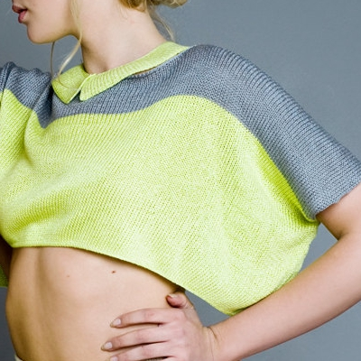 Frosty Mint Knitted Sweater Top Neon Yellow and Grey by #1: Knitted Sweater Neon Yellow and Grey by The Knit Kid