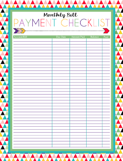 Free Printable Monthly Bill Payment Checklist | A series of over 30 ...