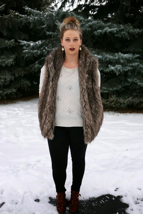 Faux Fur Vest, Mason and Belle, AE Jeans