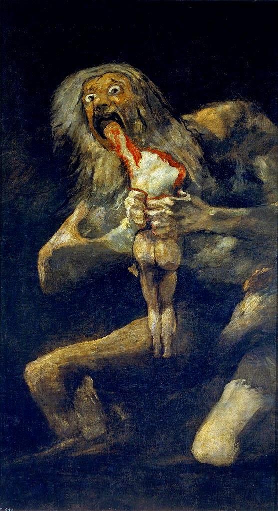 Saturno devorando seu filho, Francisco Goya, pintura macabra, mortalha