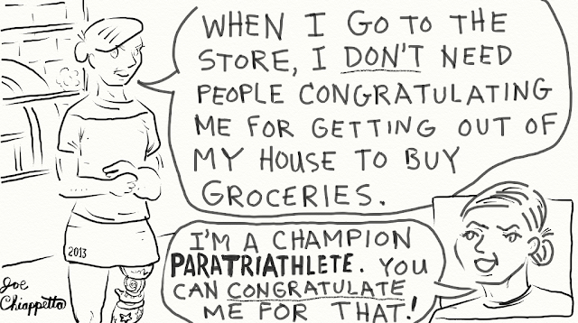 When Shopping with a Paratriathlete - comic by Joe Chiappetta