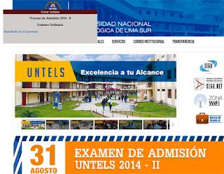 Resultados Examen de admisión UNTELS Universidad Nacional Tecnológica de Lima Sur Villa el Salvador 2014-2 31 de Agosto