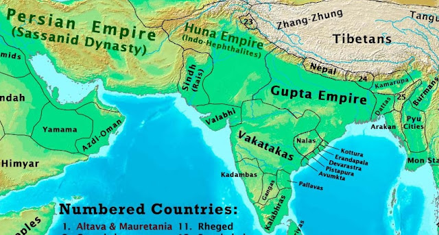 Migration of Brahmins as per Dharasena I Copper Plates of Maitraka Dharasena I in 490 AD - Asia in 500 AD