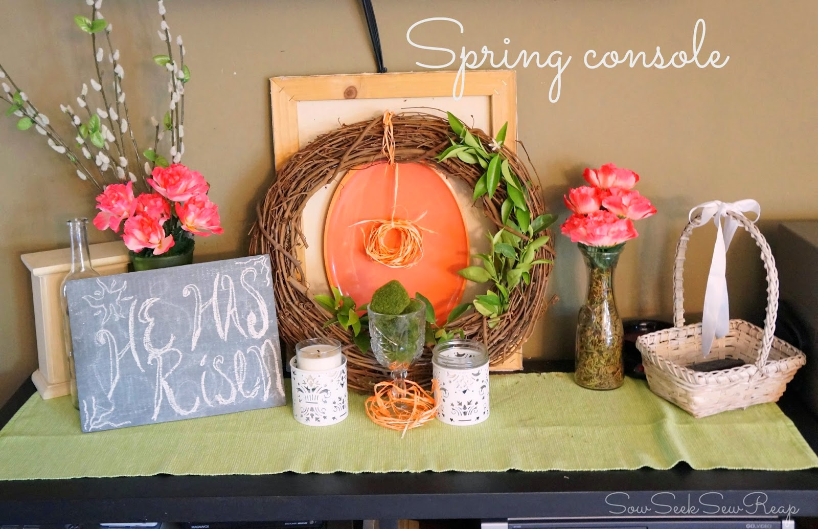 Spring decor, spring mantel, he has risen