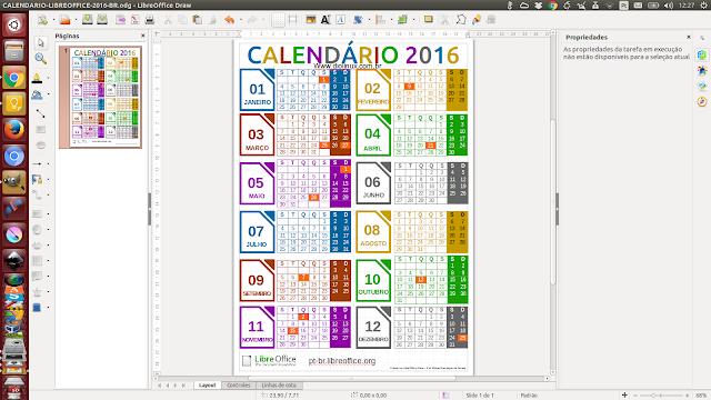 Baixe o calendário 2016 feito no LibreOffice