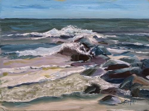 Ocean painter, Long Beach, waves and rocks