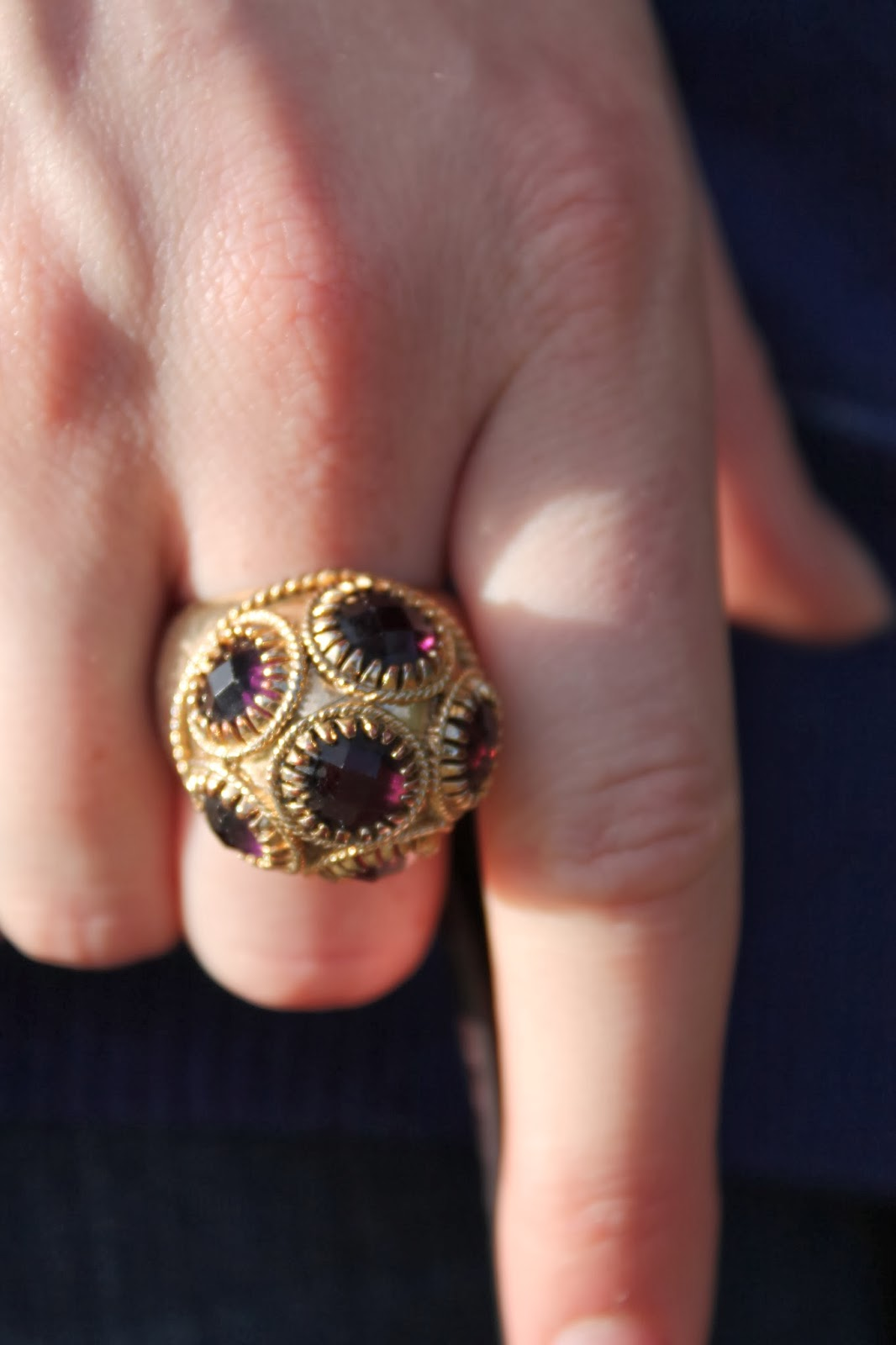 amethyst cocktail ring, vintage