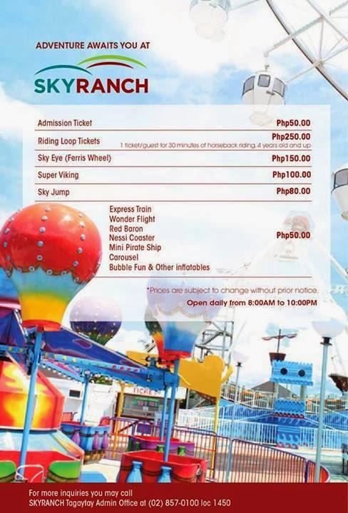 sky fun ride fees