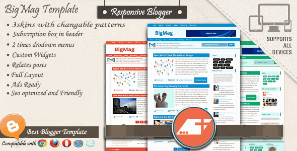 BigMag Responsive Magazine Blogger Templates