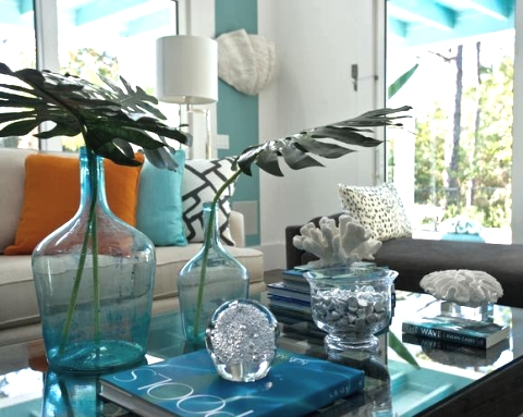 sea blue decorations on coffee table