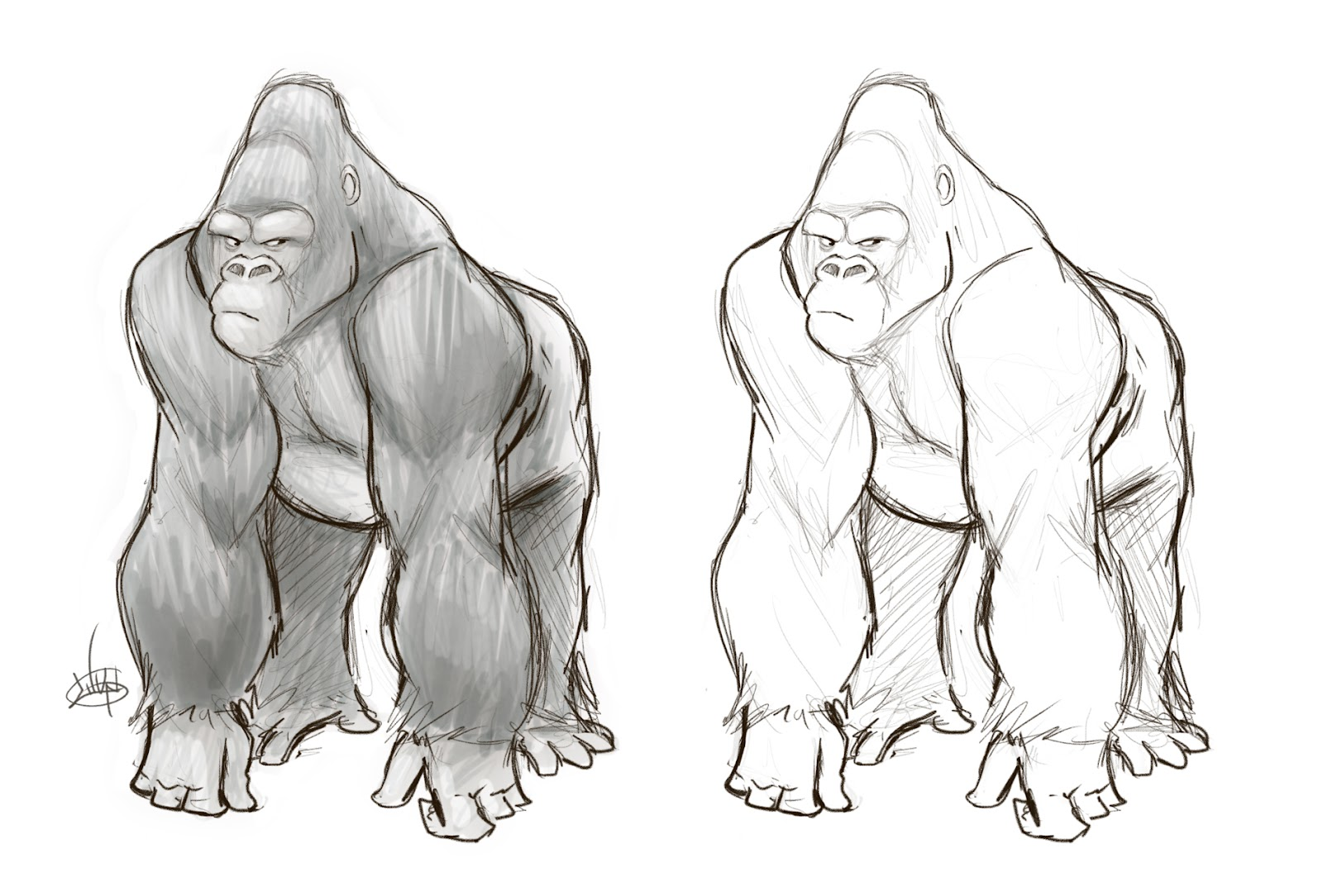 how to draw a gorilla face step by step
