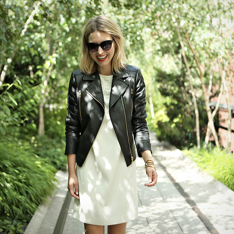 Ann Taylor Addison leather moto jacket, embellished stone dress in winter white, on the Highline, New York City, #instaANN instagram campaign