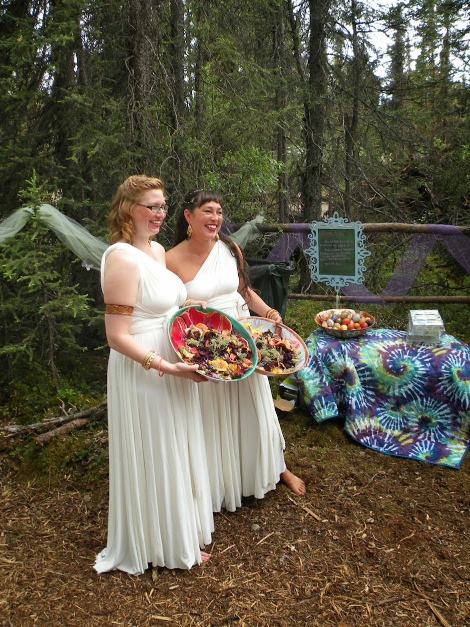 Animas Ceremony Officiants with  Floral & Fungal Offerings. See also Art Eggs in background.