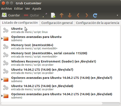 Grub Customizer listado