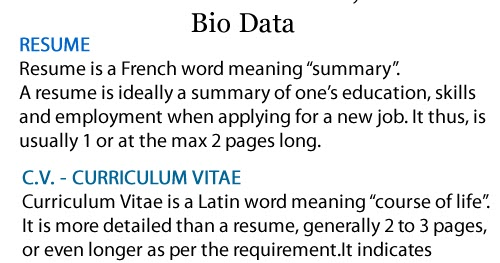 difference between resume cv and biodata computonics