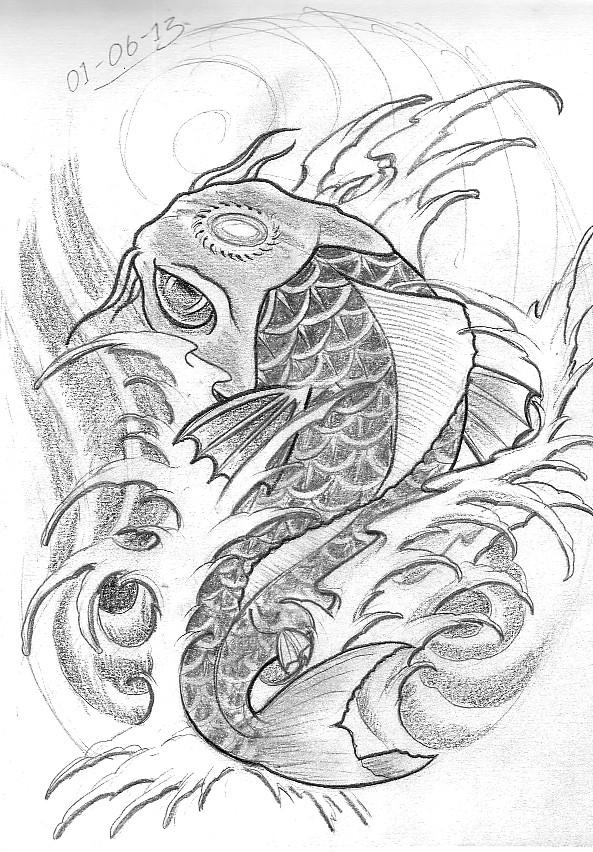 Gallery For gt Two Koi Fish Sketch