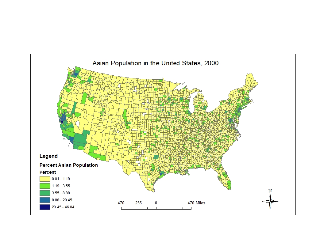 this first map details the percentage of the asian population by county in the united states the map shows that a high percentage of the asian population