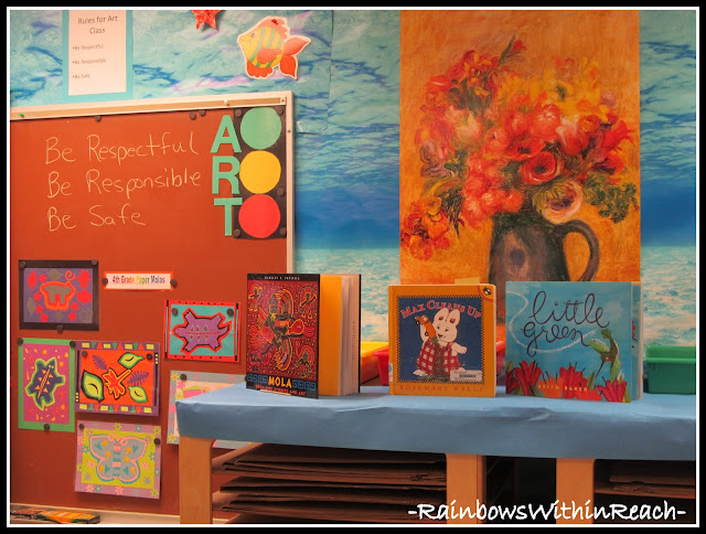 photo of: Art Room Molas Bulletin Board (Art Room RoundUP via RainbowsWithinReach)
