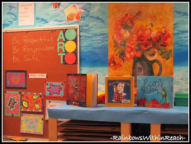 photo of: Art Room Molas Bulletin Board (Art Room RoundUP via RainbowsWithinReach)